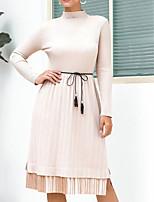 cheap -Women's Sweater Jumper Dress Knee Length Dress Blue Black Brown Beige Long Sleeve Solid Color Split Fall Turtleneck Casual 2021 One-Size