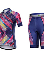 cheap -21Grams Women's Short Sleeve Cycling Jersey with Shorts Summer Spandex Polyester Purple Funny Bike Clothing Suit 3D Pad Quick Dry Moisture Wicking Breathable Back Pocket Sports Patterned Mountain