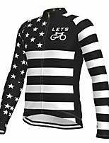 cheap -21Grams Men's Long Sleeve Cycling Jersey Spandex Polyester Black American / USA Stars Funny Bike Top Mountain Bike MTB Road Bike Cycling Quick Dry Moisture Wicking Breathable Sports Clothing Apparel