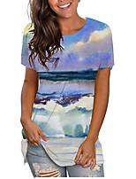 cheap -Women's 3D Printed T shirt Ocean Print Round Neck Basic Tops Purple