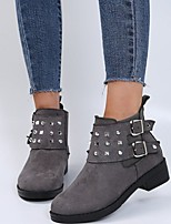 cheap -Women's Boots Chunky Heel Round Toe Rubber PU Solid Colored Gray Black Brown