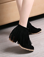 cheap -Women's Boots Chunky Heel Round Toe Booties Ankle Boots Daily PU Tassel Solid Colored Black / Booties / Ankle Boots