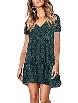 cheap -Women's A Line Dress Short Mini Dress Green Black Red Dark Blue Short Sleeve Dot Patchwork Print Spring Summer V Neck Casual Regular Fit 2021 S M L XL XXL