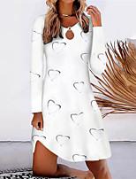 cheap -Women's A Line Dress Short Mini Dress Yellow Blushing Pink Wine White Long Sleeve Floral Print Split Print Fall Round Neck Casual 2021 S M L XL XXL 3XL 4XL 5XL / Cotton