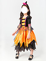 cheap -Witch Vampire Dress Cosplay Costume Kid's Girls' Halloween Halloween Halloween Children's Day Festival / Holiday Terylene Black / Orange Easy Carnival Costumes Solid Color