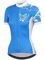 cheap -21Grams Women's Short Sleeve Cycling Jersey Summer Spandex Polyester Blue Floral Botanical Funny Bike Top Mountain Bike MTB Road Bike Cycling Quick Dry Moisture Wicking Breathable Sports Clothing