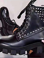 cheap -Women's Boots Chunky Heel Round Toe PU Solid Colored Black