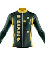 cheap -21Grams Men's Long Sleeve Cycling Jersey Spandex Polyester Dark Green Stars Funny Bike Top Mountain Bike MTB Road Bike Cycling Quick Dry Moisture Wicking Breathable Sports Clothing Apparel