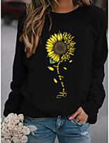 cheap -Women's Sweatshirt Pullover Floral Sunflower Print Daily Sports Hot Stamping Cotton Active Streetwear Hoodies Sweatshirts  Black Red Navy Blue