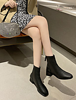 cheap -Women's Boots Chunky Heel Square Toe Booties Ankle Boots Daily PU Solid Colored Khaki Black Beige