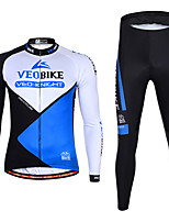 cheap -Men's Women's Long Sleeve Cycling Jersey with Tights Winter Spandex Polyester Red Blue Green Patchwork Funny Bike Clothing Suit 3D Pad Quick Dry Breathable Reflective Strips Sports Patchwork Mountain