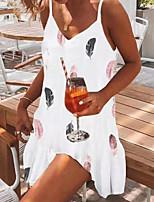 cheap -Women's Strap Dress Short Mini Dress White Sleeveless Print Print Fall Summer V Neck Casual Sexy 2021 S M L XL
