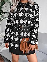 cheap -Women's Sweater Jumper Dress Short Mini Dress Wine Gray Khaki Black Light Blue Long Sleeve Houndstooth Print Fall Winter Round Neck Casual Lantern Sleeve 2021 S M L