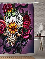 cheap -Halloween Shower Curtain Rose Skeleton Thriller Digital Printing Waterproof Fabric Bathroom Home Decoration Covered Bathtub Curtain Lining Including Hook