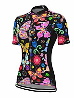 cheap -21Grams Women's Short Sleeve Cycling Jersey Summer Spandex Black Butterfly Floral Botanical Bike Top Mountain Bike MTB Road Bike Cycling Quick Dry Moisture Wicking Sports Clothing Apparel / Stretchy