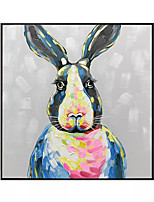 cheap -Oil Painting Handmade Hand Painted Wall Art Square Modern Abstract Cartoon Style Rabbit Home Decoration Decor Rolled Canvas No Frame Unstretched