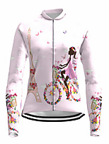 cheap -21Grams Women's Long Sleeve Cycling Jersey Spandex White Butterfly Floral Botanical Bike Top Mountain Bike MTB Road Bike Cycling Quick Dry Moisture Wicking Sports Clothing Apparel / Stretchy