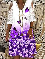 cheap -Women's A Line Dress Short Mini Dress Purple Half Sleeve Floral Butterfly Print Summer V Neck Casual 2021 M L XL XXL 3XL