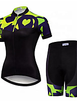 cheap -CAWANFLY Women's Short Sleeve Cycling Jersey with Shorts Summer Spandex Lycra Polyester Black / Yellow Geometic Funny Bike Clothing Suit Breathable Sweat wicking Sports Geometic Mountain Bike MTB