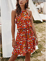 cheap -Women's A Line Dress Short Mini Dress Navy Bulk goods come out in the same color and size White Black Red Sleeveless Flower Ruffle Print Spring Summer Round Neck Active Casual 2021 S M L XL / Cotton