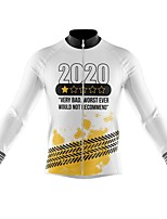 cheap -21Grams Men's Long Sleeve Cycling Jersey Spandex Polyester White Black Funny Bike Top Mountain Bike MTB Road Bike Cycling Quick Dry Moisture Wicking Breathable Sports Clothing Apparel / Stretchy