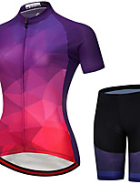 cheap -21Grams Women's Short Sleeve Cycling Jersey with Shorts Summer Spandex Purple Red Orange Gradient Bike Quick Dry Moisture Wicking Sports Gradient Mountain Bike MTB Road Bike Cycling Clothing Apparel