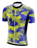 cheap -21Grams Men's Short Sleeve Cycling Jersey Summer Spandex Blue+Yellow Stripes Bike Top Mountain Bike MTB Road Bike Cycling Quick Dry Moisture Wicking Sports Clothing Apparel / Athleisure