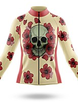 cheap -21Grams Women's Long Sleeve Cycling Jersey Spandex Polyester Red / Yellow Skull Funny Bike Top Mountain Bike MTB Road Bike Cycling Quick Dry Moisture Wicking Breathable Sports Clothing Apparel