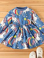 cheap -Kids Little Girls' Dress Cartoon Unicorn Animal T Shirt Dress Tee Dress Daily Print Blue Blushing Pink Knee-length Long Sleeve Cute Dresses Children's Day Fall Regular Fit 1-5 Years