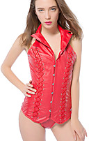 cheap -Sexy Shapewear Queen Collar Hanging Neck Buckle Leather Corset Drawstring Breasted Steel PU Leather Corset Body Waist Trainer