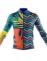 cheap -21Grams Men's Long Sleeve Cycling Jersey Spandex Blue 3D Bike Top Mountain Bike MTB Road Bike Cycling Quick Dry Moisture Wicking Sports Clothing Apparel / Stretchy / Athleisure