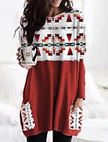 cheap -Women's T Shirt Dress Tee Dress Short Mini Dress Red Long Sleeve Geometric Pocket Print Fall Winter Round Neck Casual 2021 S M L XL XXL 3XL