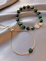 cheap -2pcs Women's Green Bead Bracelet Link Bracelet Beads Fashion Simple European Alloy Bracelet Jewelry Green For Gift Date Festival