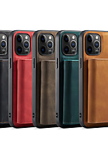 cheap -Phone Case For Apple Full Body Case iPhone 12 Pro Max 11 X XR XS Max iphone 7Plus / 8Plus Card Holder Shockproof Dustproof Solid Colored PU Leather