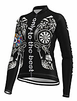 cheap -21Grams Women's Long Sleeve Cycling Jersey Spandex Black Skull Bike Top Mountain Bike MTB Road Bike Cycling Quick Dry Moisture Wicking Sports Clothing Apparel / Stretchy / Athleisure
