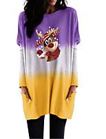 cheap -Women's Shift Dress Short Mini Dress Purple Blushing Pink Khaki Green Black Long Sleeve Color Gradient Animal Pocket Print Fall Winter Round Neck Casual Christmas Batwing Sleeve 2021 S M L XL XXL 3XL