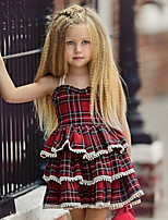 cheap -Toddler Little Girls' Dress Plaid Strap Dress Blue Red Knee-length Sleeveless Cute Dresses Summer 1-5 Years
