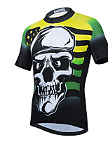 cheap -21Grams Men's Short Sleeve Cycling Jersey Summer Spandex Polyester Yellow Red Skull Funny Bike Top Mountain Bike MTB Road Bike Cycling Quick Dry Moisture Wicking Breathable Sports Clothing Apparel