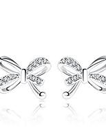 cheap -heart stud earrings for women cubic zirconia dangle earring for girls 14k white gold plated stud earrings gifts for women girls(bowknot1013-white)
