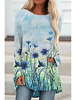 cheap -Women's Floral Theme Painting T shirt Floral Graphic Long Sleeve Print Round Neck Basic Tops Blue