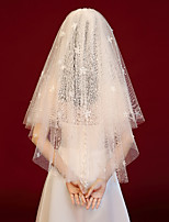 cheap -Three-tier Vintage Inspired / Cute Wedding Veil Blusher Veils / Shoulder Veils with Petal / Sequin / Solid Tulle