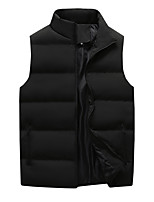 cheap -Men's Vest Sport Daily Fall Winter Regular Coat Stand Collar Loose Thermal Warm Windproof Lightweight Breathable Sporty Jacket Sleeveless Hot Stamping Solid Color Print Blue Khaki Black