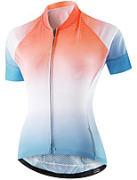 cheap -21Grams Women's Short Sleeve Cycling Jersey Summer Spandex Blue+Orange Gradient Bike Top Mountain Bike MTB Road Bike Cycling Quick Dry Moisture Wicking Sports Clothing Apparel / Stretchy / Athleisure