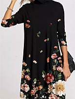 cheap -Women's A Line Dress Short Mini Dress Gray Black Long Sleeve Floral Print Fall Turtleneck Casual 2021 S M L XL XXL 3XL 4XL 5XL