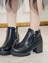 cheap -Women's Boots Chunky Heel Round Toe Booties Ankle Boots Daily PU Solid Colored Black Brown