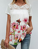 cheap -Women's Abstract T shirt Dress Graphic Flower Lace Print Round Neck Sexy Boho Tops Blue Blushing Pink Rainbow