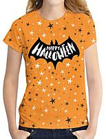 cheap -Women's Halloween Geometric Painting T shirt Geometric Text Print Round Neck Basic Halloween Tops Purple Gray Orange / 3D Print