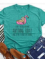 cheap -Women's T shirt Graphic Letter Animal Print Round Neck Basic Vintage Tops Regular Fit Blue Blushing Pink Wine