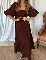 cheap -Women's Swing Dress Maxi long Dress Khaki Black Brown Half Sleeve Solid Color Ruched Fall Boat Neck Casual 2021 S M L XL
