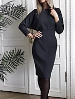cheap -Women's A Line Dress Midi Dress Blue Orange Black 3/4 Length Sleeve Solid Color Split Lace up Fall Winter V Neck Casual 2021 S M L XL XXL